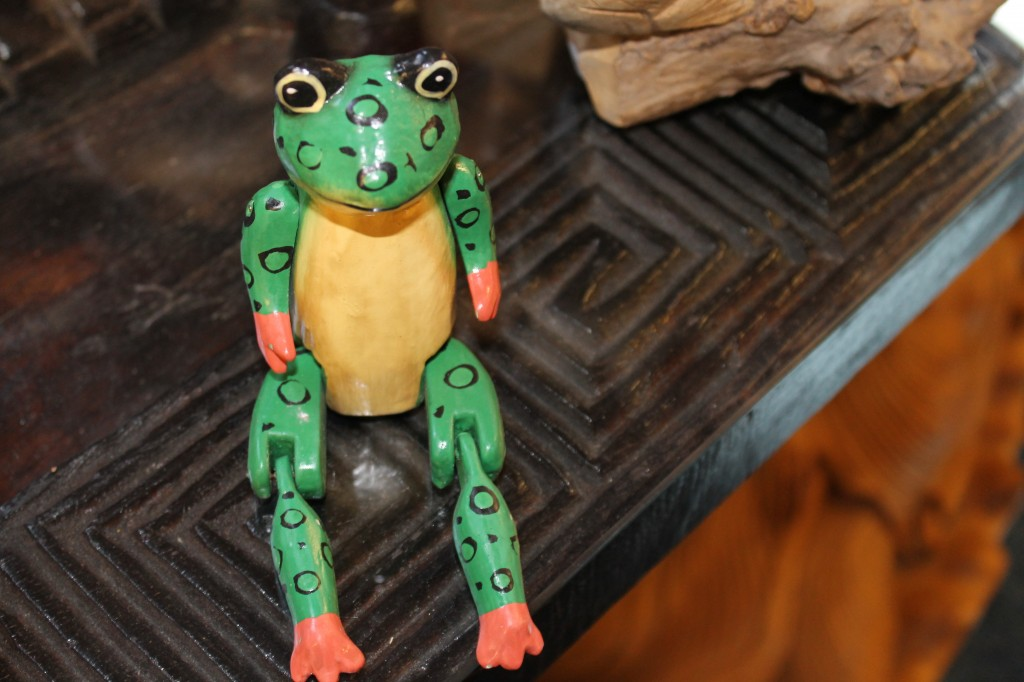 A frog handcrafted from Albesia wood. The Balinese revere frogs because they come to life after the rains and their presence bodes well for the rice harvest ahead.  PHOTO BY MADALYNE BIRD